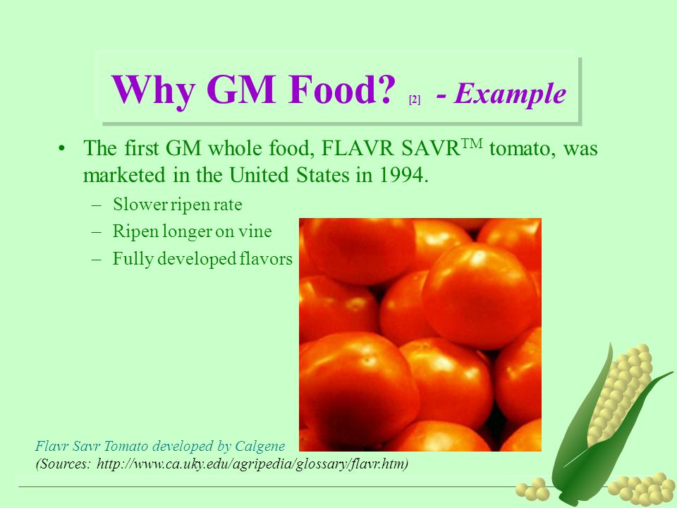Why GM Food [2] - Example The first GM whole food, FLAVR SAVRTM tomato, was marketed in the United States in 1994.
